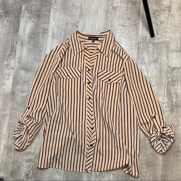 Tan striped button down